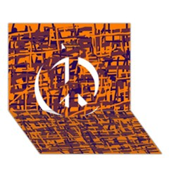 Orange and blue pattern Peace Sign 3D Greeting Card (7x5)