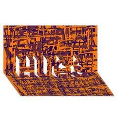Orange and blue pattern HUGS 3D Greeting Card (8x4)