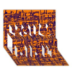 Orange and blue pattern You Did It 3D Greeting Card (7x5)