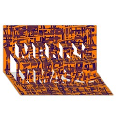 Orange and blue pattern Merry Xmas 3D Greeting Card (8x4)
