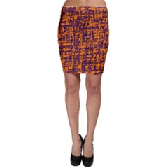 Orange and blue pattern Bodycon Skirt