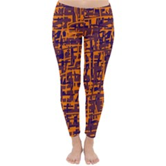 Orange and blue pattern Winter Leggings