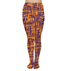 Orange and blue pattern Women s Tights