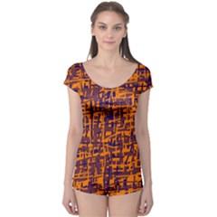 Orange and blue pattern Boyleg Leotard