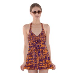 Orange and blue pattern Halter Swimsuit Dress