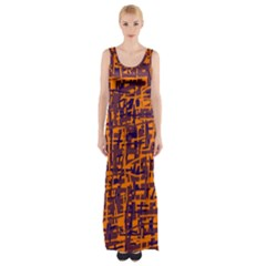 Orange and blue pattern Maxi Thigh Split Dress
