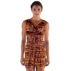 Orange and blue pattern Wrap Front Bodycon Dress