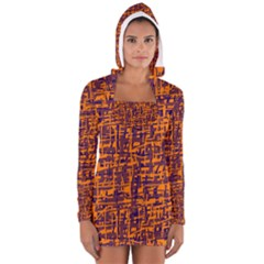 Orange and blue pattern Women s Long Sleeve Hooded T-shirt