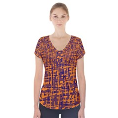 Orange And Blue Pattern Short Sleeve Front Detail Top