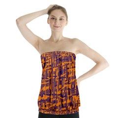 Orange and blue pattern Strapless Top