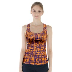 Orange and blue pattern Racer Back Sports Top