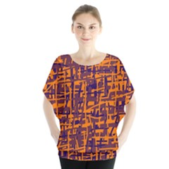 Orange and blue pattern Batwing Chiffon Blouse