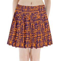 Orange and blue pattern Pleated Mini Mesh Skirt