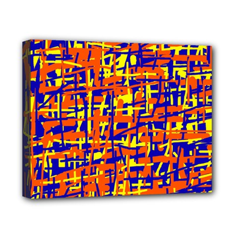 Orange, blue and yellow pattern Canvas 10  x 8