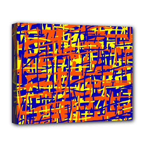 Orange, blue and yellow pattern Deluxe Canvas 20  x 16
