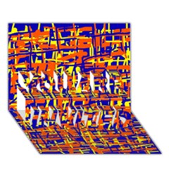 Orange, blue and yellow pattern YOU ARE INVITED 3D Greeting Card (7x5)
