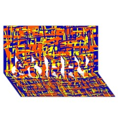 Orange, blue and yellow pattern SORRY 3D Greeting Card (8x4)
