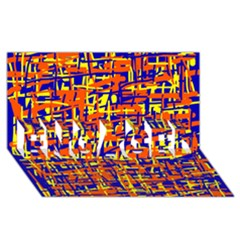 Orange, blue and yellow pattern ENGAGED 3D Greeting Card (8x4)