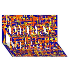 Orange, blue and yellow pattern Merry Xmas 3D Greeting Card (8x4)