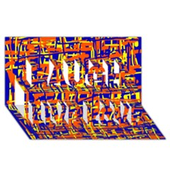 Orange, blue and yellow pattern Laugh Live Love 3D Greeting Card (8x4)