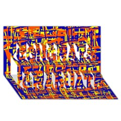Orange, blue and yellow pattern Congrats Graduate 3D Greeting Card (8x4)