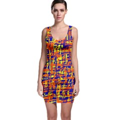 Orange, blue and yellow pattern Sleeveless Bodycon Dress