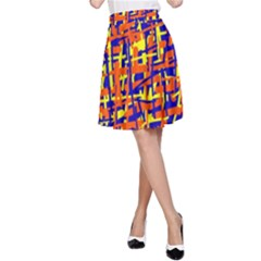 Orange, blue and yellow pattern A-Line Skirt