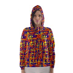 Orange, blue and yellow pattern Hooded Wind Breaker (Women)