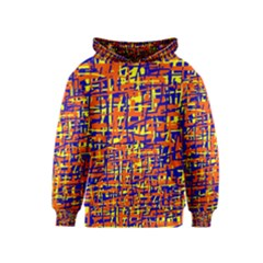 Orange, blue and yellow pattern Kids  Pullover Hoodie