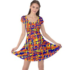 Orange, blue and yellow pattern Cap Sleeve Dresses