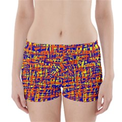 Orange, Blue And Yellow Pattern Boyleg Bikini Wrap Bottoms