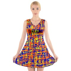 Orange, blue and yellow pattern V-Neck Sleeveless Skater Dress