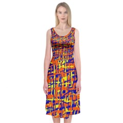 Orange, blue and yellow pattern Midi Sleeveless Dress