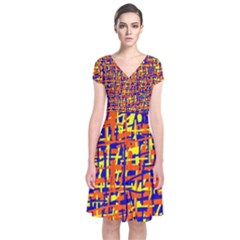 Orange, blue and yellow pattern Short Sleeve Front Wrap Dress