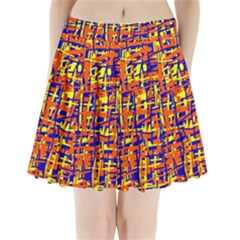 Orange, Blue And Yellow Pattern Pleated Mini Mesh Skirt
