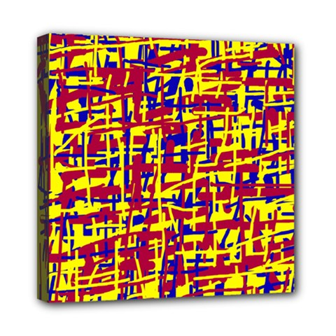 Red, yellow and blue pattern Mini Canvas 8  x 8