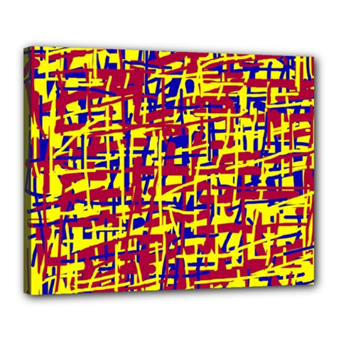 Red, yellow and blue pattern Canvas 20  x 16