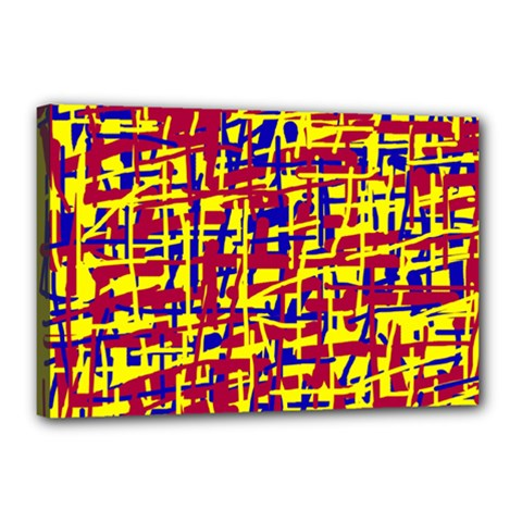 Red, yellow and blue pattern Canvas 18  x 12