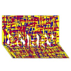 Red, yellow and blue pattern SORRY 3D Greeting Card (8x4)