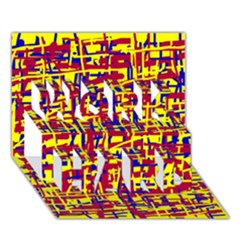 Red, yellow and blue pattern WORK HARD 3D Greeting Card (7x5)