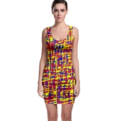 Red, yellow and blue pattern Sleeveless Bodycon Dress
