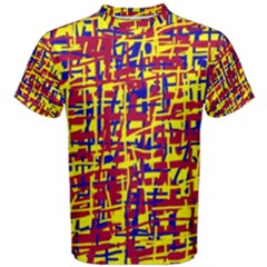 Red, yellow and blue pattern Men s Cotton Tee