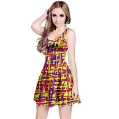 Red, yellow and blue pattern Reversible Sleeveless Dress