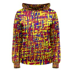 Red, yellow and blue pattern Women s Pullover Hoodie
