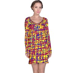 Red, yellow and blue pattern Long Sleeve Nightdress
