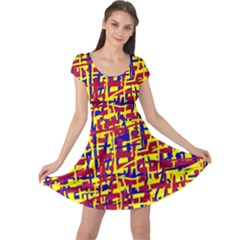 Red, yellow and blue pattern Cap Sleeve Dresses