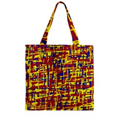 Red, yellow and blue pattern Zipper Grocery Tote Bag