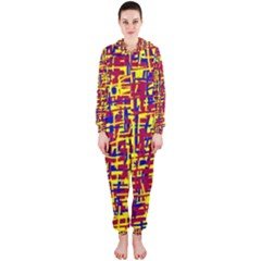 Red, yellow and blue pattern Hooded Jumpsuit (Ladies)