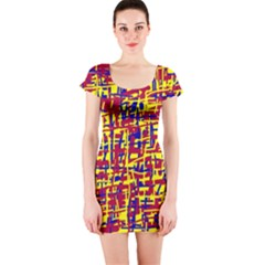 Red, yellow and blue pattern Short Sleeve Bodycon Dress