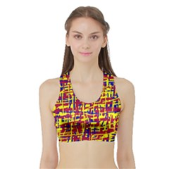 Red, yellow and blue pattern Sports Bra with Border